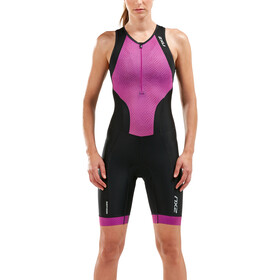 2XU Perform Front Zip Trisuit Damen black/very berry mesh print